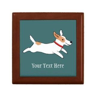 Cute Jack Russell Terrier Cartoon with Custom Text Trinket Box
