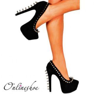 Ladies Black Suede Spike Studded Stiletto Platform High Heels Shoe