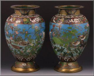 Important Pair Meiji Period Japanese Cloisonne Vases