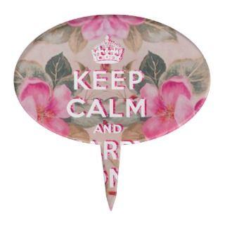 Girly keep calmVintage pink elegant floral roses Cake Pick