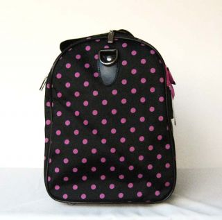 19Duffel Tote Bag Black Pink Polka Dots Luggage Travel