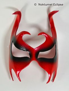 Red Leather Mask Horns Masquerade Devil Mardi Gras
