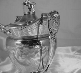 Remarkable Gorham Sterling Silver Tea Set Lions Masks C 1869 102 Ozs