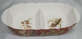 222 Fifth Gabrielle Red Fine China Divided Serving Bowl New