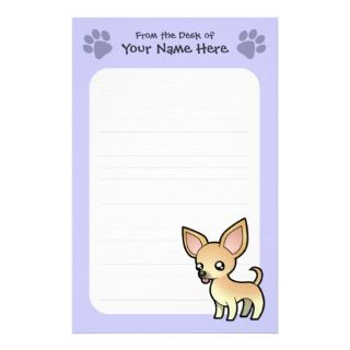Cartoon Chihuahua (fawn smooth coat) stationery by SugarVsSpice