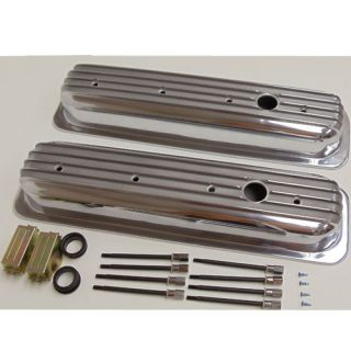 Aluminum Short Finned Chevy Center Bolt Valve Covers SBC Small Block