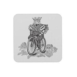Bicycle® Joker King on a Bike Coasters