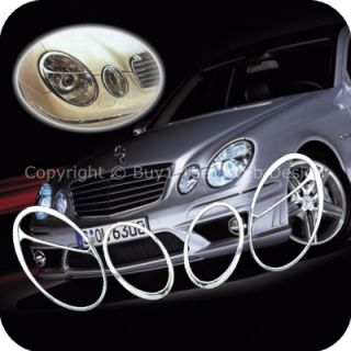 Benz W211 E Class Chrome Head Light Trim Front Lamp Rim Cover Overlays