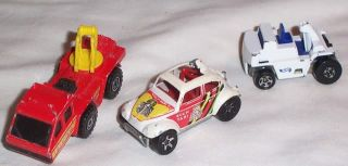 1980s Hot Wheels Die Cast Fire Engine Jeep Bug N Taxi