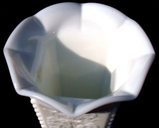 Vintage Westmoreland Milk Glass Beaded Grape Pattern 9 Crimped Vase