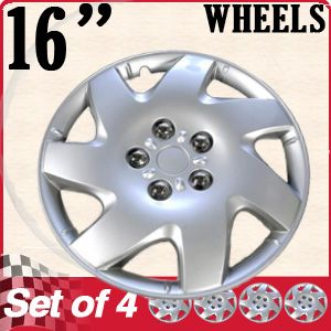 Hub Cap ABS Silver 16 inch Rim Wheel Skin Cover Center 4 PC Caps Set