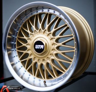 17x9 Str 606 RS Style 4x114 3 Gold Machined Wheel Fit Nissan s13 s14