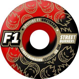 STREETBURNERS 52mm Black/Red Swirl Skateboard Wheels Skateboards NEW