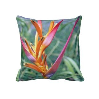 Enhanced Hawaiian Heliconia Flower Throw Pillows
