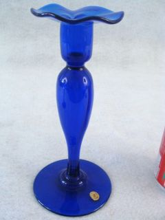 Antique Pairpoint Cobalt Blown Glass 8 Candlesticks
