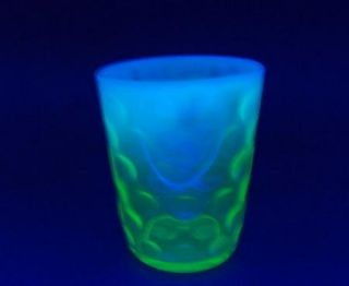 Vintage Green Opalescent Glass Polka Dot Tumblers