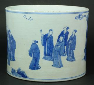 19th C Antique Chinese Porcelain Blue White Brush Pot