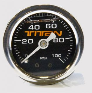 Fuel Pressure Gauge Black Face 0 100PSI Mechanical 1 1 2in 15633