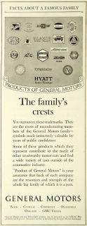 1924 Ad General Motors Crests Logo Buick Chevrolet Oakland Delco Light