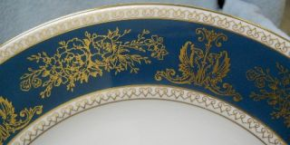 Wedgwood China Columbia R4509 Blue and Gold Pattern Dinner Plate