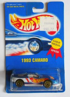 Hot Wheels Blue Card 262 1993 Camaro DK Blue w GUHs Mint on Card