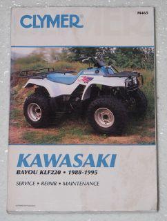 1988 1995 Kawasaki Bayou 220 KLF220 Clymer Repair Manual Service 89 91