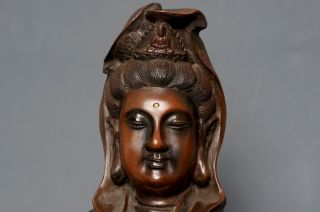Large Antique Chinese 18th C Qing Bronze Guanyin Budda Statue Figure