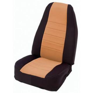 Smittybilt 47824 Jeep Wrangler JK Neoprene Seat Cover Front Black Tan
