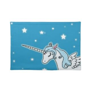 Blue and white Pegasus Unicorn Place Mat