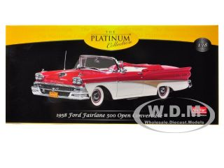 1958 Ford Fairlane Convertible Torch Red White 1 18 by Sunstar 5262