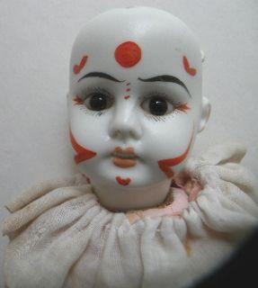 German Bisque Antique Clown Original Clothes No Res
