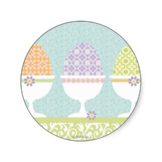 Pastel Easter egg cups Round Sticker