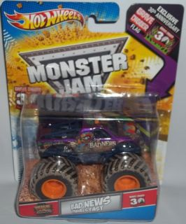 Hot Wheels Monster Jam 1 64 Bad News Travels Fast Grave Digger 30th