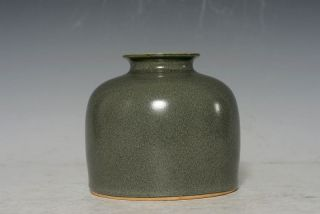Chinese Antique Porcelain Green Brown Water Pot Ink Pot Signed M214