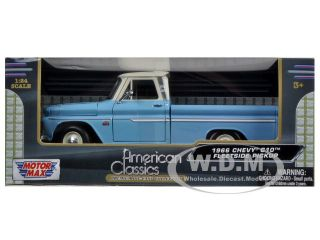 1966 Chevrolet C10 Fleetside Pickup Truck Blue Cream 1 24 by Motormax