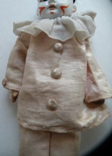 German Bisque Antique Clown Original Clothes No Res