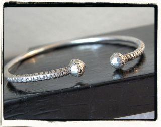 Vintage Solid Sterling Silver 925 Acorn Bangle Cuff Bracelet