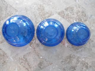 Set of 3 Cobalt Blue Glass Pyrex Mixing Bowls Nesting Bowls 1 Qt 1 5