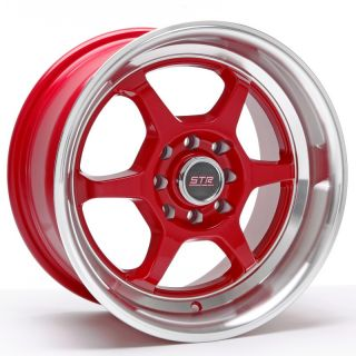 15x8 Str 501 P1 Style 4x114 3 25 Red Wheel Fit JDM Accord Prelude AE86