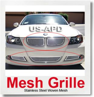 06 07 BMW 325i 330i Stainless Steel Mesh Grille Combo