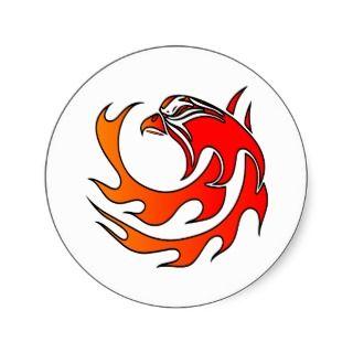 White Flame Tribal Eagle Head Round Sticker