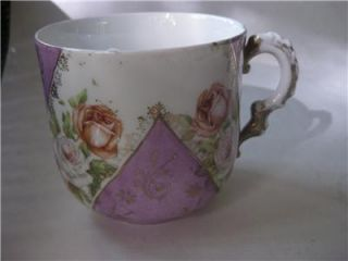 Pretty Antique Mustache Cup Pink Yellow Floral Roses Purple Panels