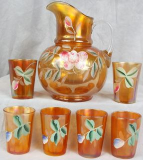 138 Antique Fenton 1907 Water Set Hand Painted Marigold Carnival Glass