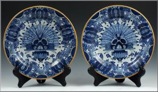 Beautiful Pair of 18thC Signed Delft Plates in War Bonnet Pattern