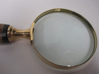 Decorative Magnifying Glass Gold Rim Hand Carved Twisted Wooden Handle