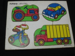 Lot of 3 Thick Heavy Vintage Childrens Wooden Puzzles Playskool