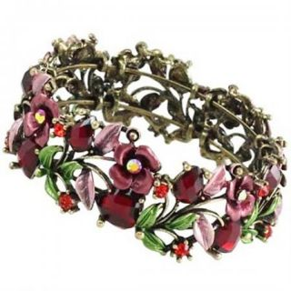 Red Crystal Flower Hinged Bracelet Bangle BR Burnish Silver Tone