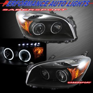 09 11 TOYOTA RAV4 DUAL CCFL HALO BLACK PROJECTOR HEADLIGHTS w/ LED
