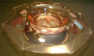 Depression Pink Etched Glass Rolled Edge Bowl Stand