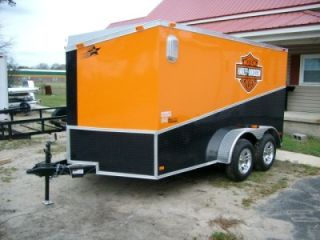 7x12 Enclosed Double Motorcycle Trailer Black ATP Slant Pkg Orange